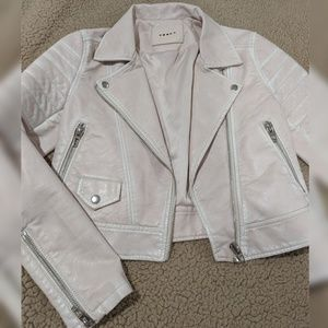 Faux Leather Fitted Moto Jacket in Blush